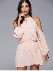 Endearing Solid Color  Hollow Out Back Slit Dress For Women