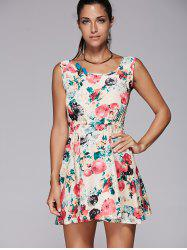 Sleeveless Floral Print Mini Skater Dress - BEIGE