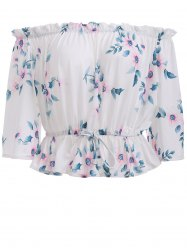 Off The Shoulder Floral Pattern Blouse