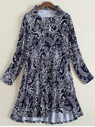 Plus Size Elegant Inclined Button Fly Dress - PURPLISH BLUE 3XL