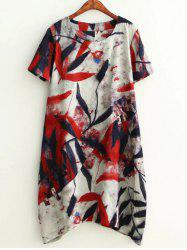 Plus Size Leaf Ink Painting Baggy Tee Shirt Dress -