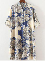 Plus Size Ethnic Adjustable Sleeve Floral Shirt