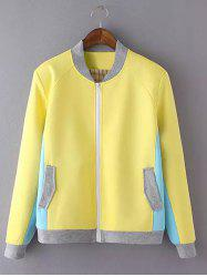 Long Sleeve Stand Collar Color Block Jacket -