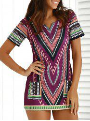 Chic Short Sleeve Patch Pocket Totem Printed Dress For Women - COLORMIX
