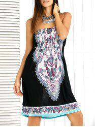 Paisley Ornate Printed Shirred Strapless Mini Summer Dress - BLACK