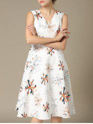 Trendy V-Neck Sleeveless Pocket Design Printed Women's Dress -