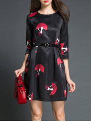 Charming Round Neck 3/4 Sleeve Printed Women's Dress -