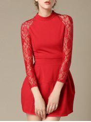 Charming Lace Splicing Pocket Design Women's Dress -