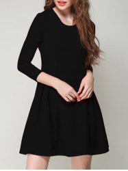 Chic 3/4 Sleeve Solid Color Slimming Women's Dress - BLACK XL