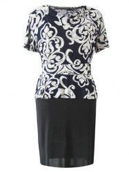 Chic Cowl Neck Paisley Print Spliced Women's Dress -