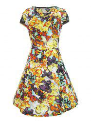 Retro Style Cowl Neck Butterfly Print Women's Dress -