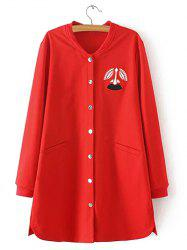 Oversized Embroidered Buttoned Baseball Coat -