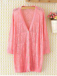 Long Sleeve Oversized Openwork Buttoned Long Cardigan - PINK