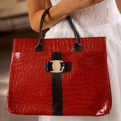 Fashionable Embossing and Metal Design Women's Tote Bag - WINE RED