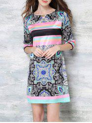 Casual Color Block Printed Dress For Women -