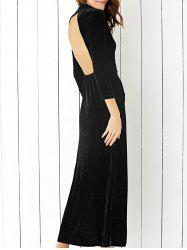 Velvet Slit Open Back Maxi Formal Dress - BLACK S