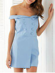 Chic Off-The-Shoulder Double-Breasted Romper For Women -