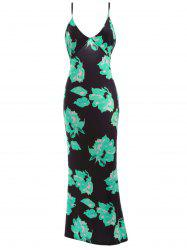 Plunging Neck Backless Floral Formal Maxi Slip Dress -