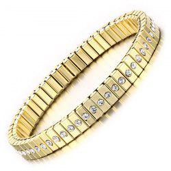 Gold Plated Rhinestone Box Chain Bracelet