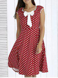 Vintage Bowknot Front Polka Dot Dress For Women -
