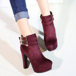 Party Chunky Heel and Metal Buckles Design Ankle Boots For Women