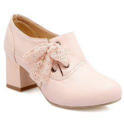 Sweet Lace and Chunky Heel Design Ankle Boots For Women - PINK