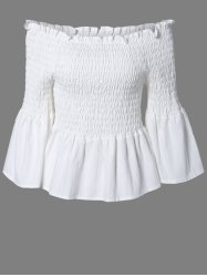 Ladylike Solid Color Ruffles Bell Sleeves Blouse -