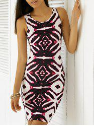 Chic Sleeveless Printed Bodycon Dress - WHITE