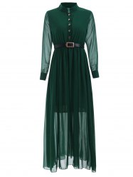 Stand Collar Long Sleeve Belted Dress -