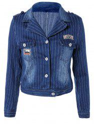 Stylish Lapel Appliques Striped Jacket -