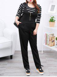 Plus Size Casual Zipper Fly Black Overalls -