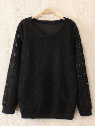 Plus Size Sweet Hollow Out Lace Sweatshirt - BLACK