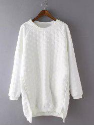 Plus Size Casual Polka Dot Pattern Sweatshirt - WHITE