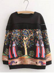 Plus Size Sweet Tree Print Pleated Sweatshirt - BLACK