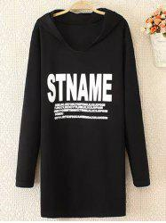 Plus Size Casual Letter Print Hoodie -