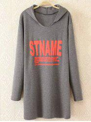Plus Size Casual Letter Print Hoodie - GRAY