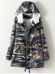 Oversized Casual Camouflage Hooded Cotton Padded Coat - CAMOUFLAGE