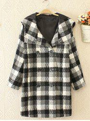 Plus Size Plaid Double Hooded Breasted Coat - WHITE AND BLACK