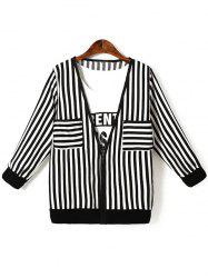 Oversized Chic Letter Print Tank Top + Striped Jacket - BLACK