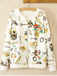 Oversized Sweet Key and Flower Print Jacket -