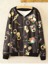 Oversized Sweet Key and Flower Print Jacket - BLACK