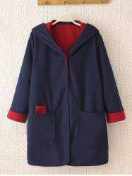 Plus Size Cuffed Sleeve Two Tone Coat - BLUE AND RED