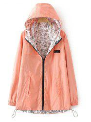 Plus Size Reversible Long Coat Jacket with Hood