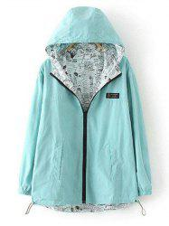 Plus Size Reversible Long Coat Jacket with Hood - LIGHT GREEN