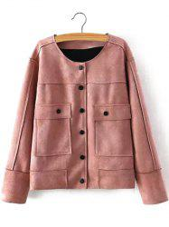 Plus Size Chic Faux Suede Fabric Jacket - NUDE PINK