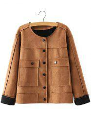 Plus Size Chic Faux Suede Fabric Jacket - KHAKI