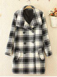 Plus Size Double Breasted Plaid Woolen Coat - WHITE AND BLACK