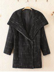 Plus Size mode Big Collar Coat Woolen - Blanc Et Noir