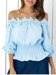 Sweet Off-The-Shoulder Floral Hem Spliced Blouse -