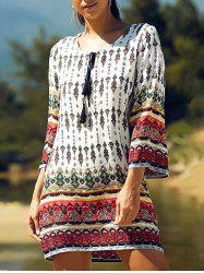 Retro Style Geometric Printed Mini Tunic Dress - COLORMIX